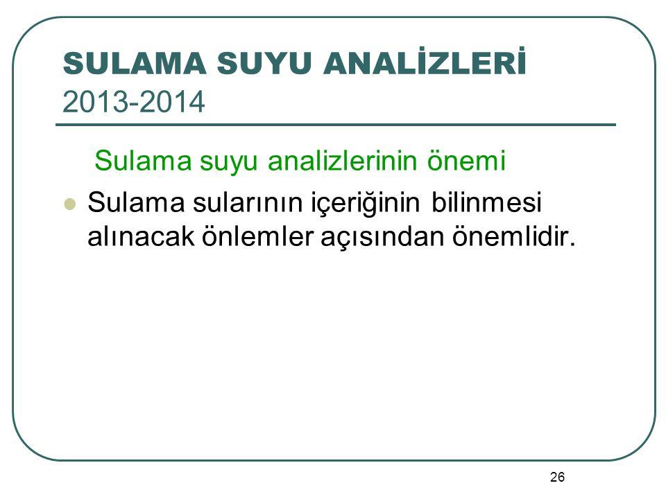SULAMA SUYU ANALİZLERİ 2013-2014