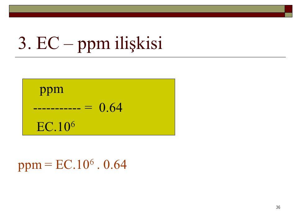 3. EC – ppm ilişkisi ppm ----------- = 0.64 EC.106 ppm = EC.106 . 0.64