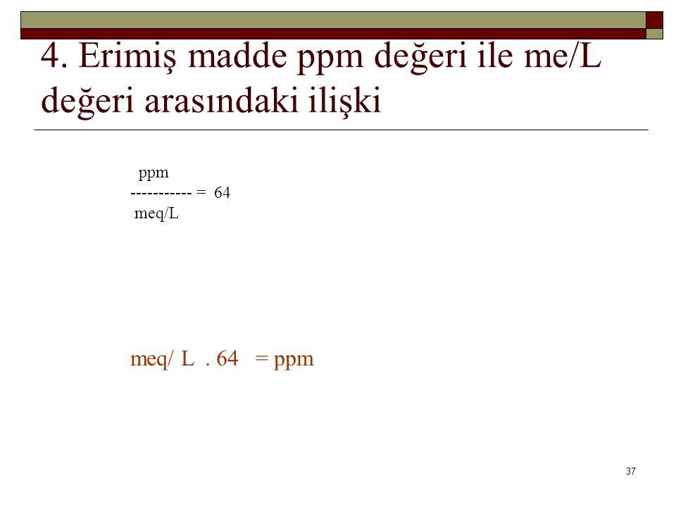 4. Erimiş madde ppm değeri ile me/L değeri arasındaki ilişki