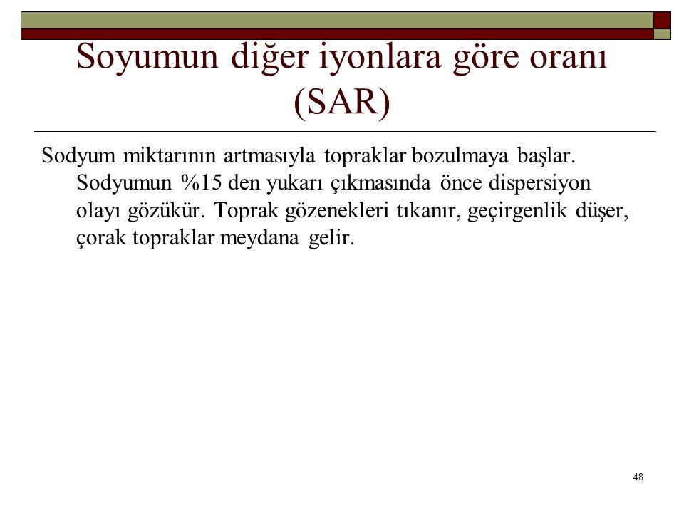 Soyumun diğer iyonlara göre oranı (SAR)