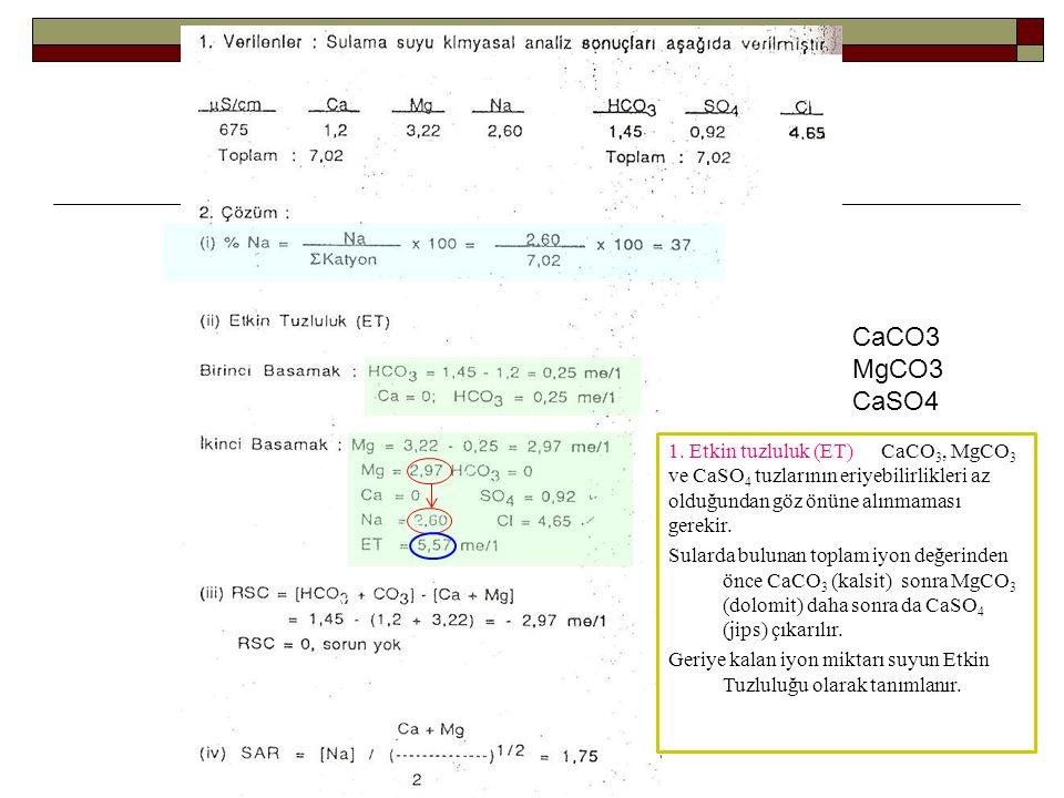 CaCO3 MgCO3. CaSO4. 1. Etkin tuzluluk (ET) CaCO3, MgCO3 ve CaSO4 tuzlarının eriyebilirlikleri az olduğundan göz önüne alınmaması gerekir.