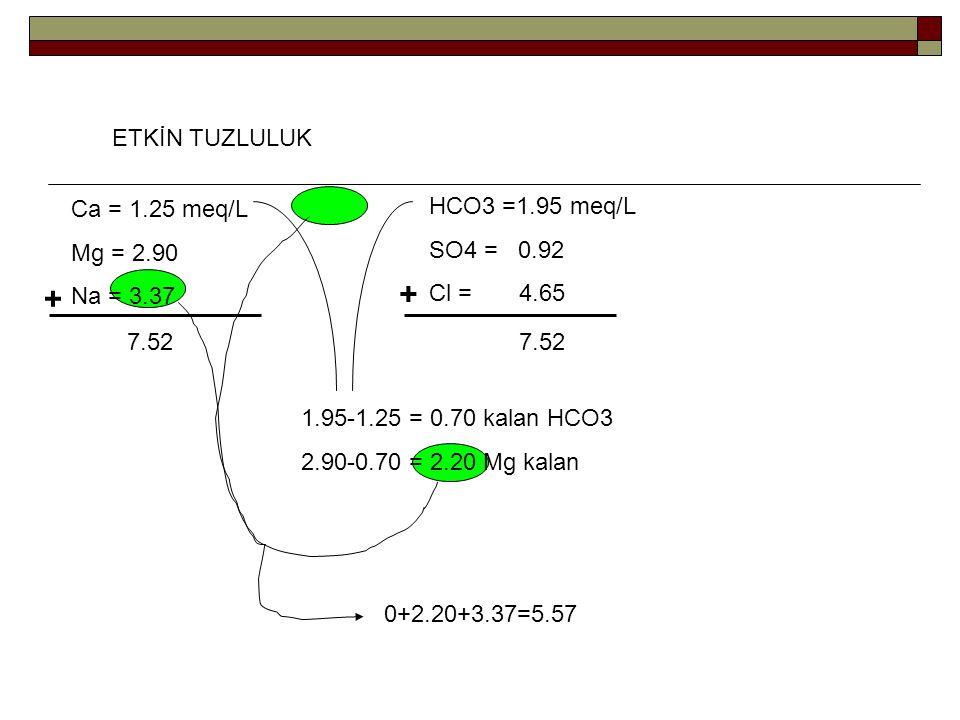 + + ETKİN TUZLULUK Ca = 1.25 meq/L Mg = 2.90 Na = 3.37