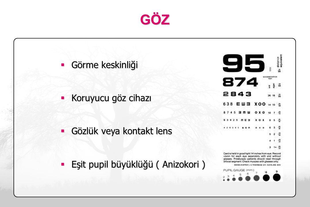 GÖZ Görme keskinliği Koruyucu göz cihazı Gözlük veya kontakt lens