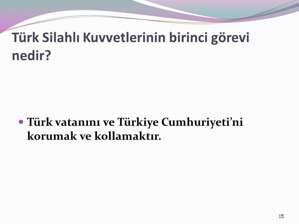Türk Silahlı Kuvvetlerinin birinci görevi nedir