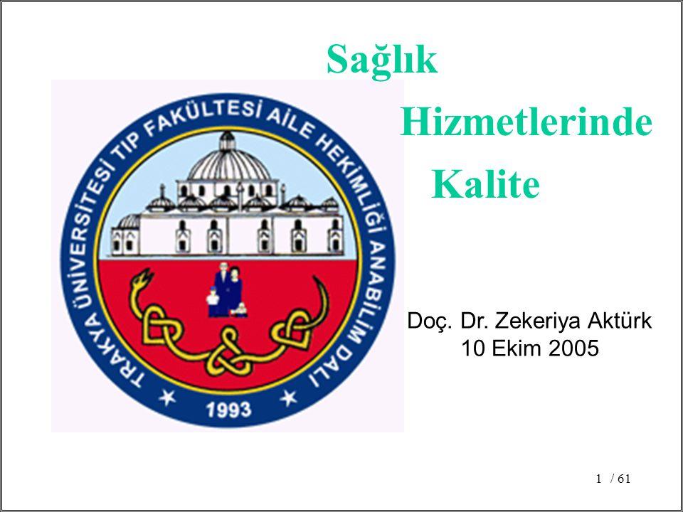 Sağlık Hizmetlerinde Kalite Doç. Dr. Zekeriya Aktürk 10 Ekim 2005 / 61