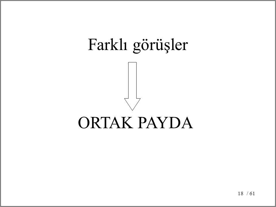 Farklı görüşler ORTAK PAYDA / 61