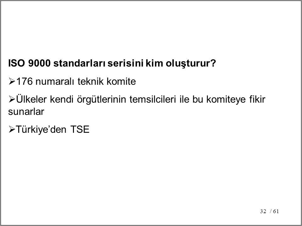 ISO 9000 standarları serisini kim oluşturur