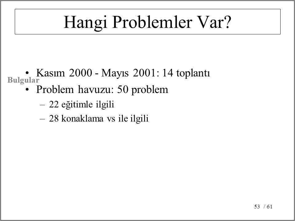 Hangi Problemler Var Kasım 2000 - Mayıs 2001: 14 toplantı