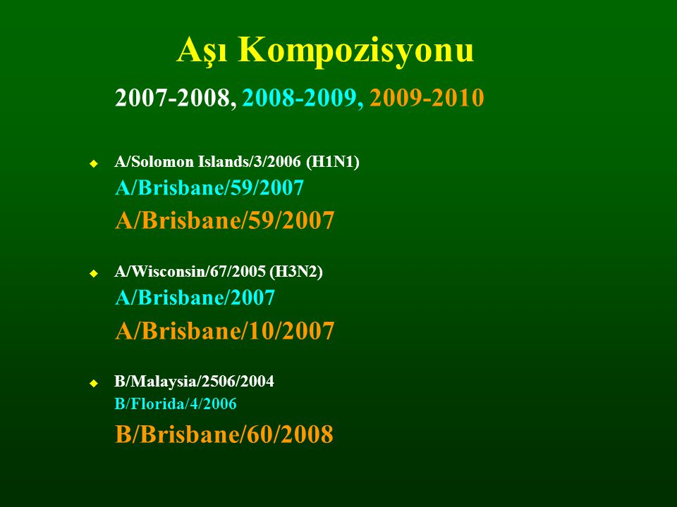 Aşı Kompozisyonu 2007-2008, 2008-2009, 2009-2010. A/Solomon Islands/3/2006 (H1N1) A/Brisbane/59/2007.