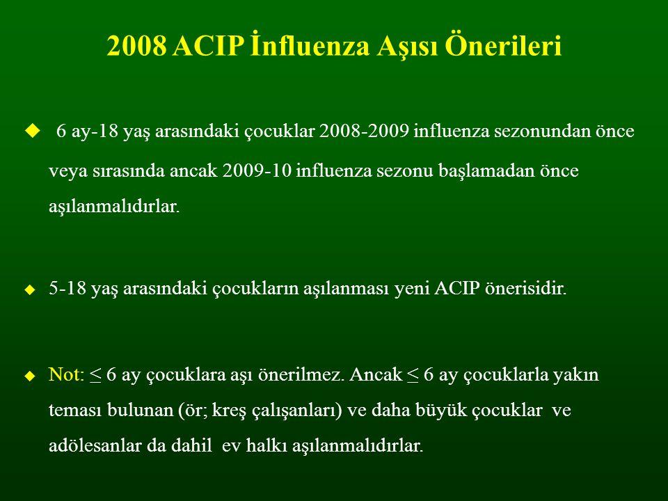 2008 ACIP İnfluenza Aşısı Önerileri