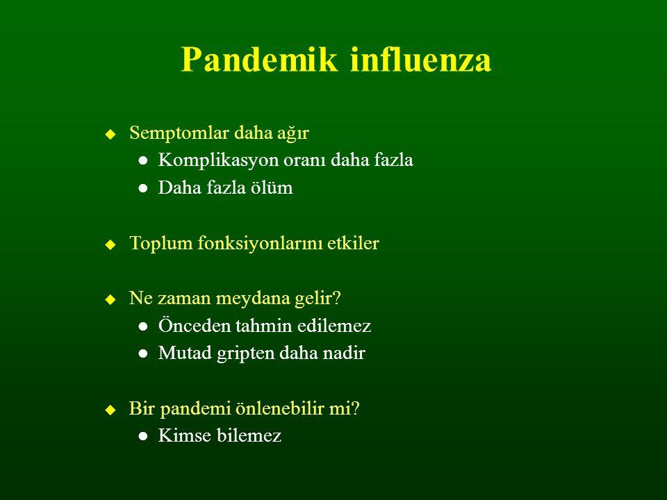 Pandemik influenza Semptomlar daha ağır Komplikasyon oranı daha fazla