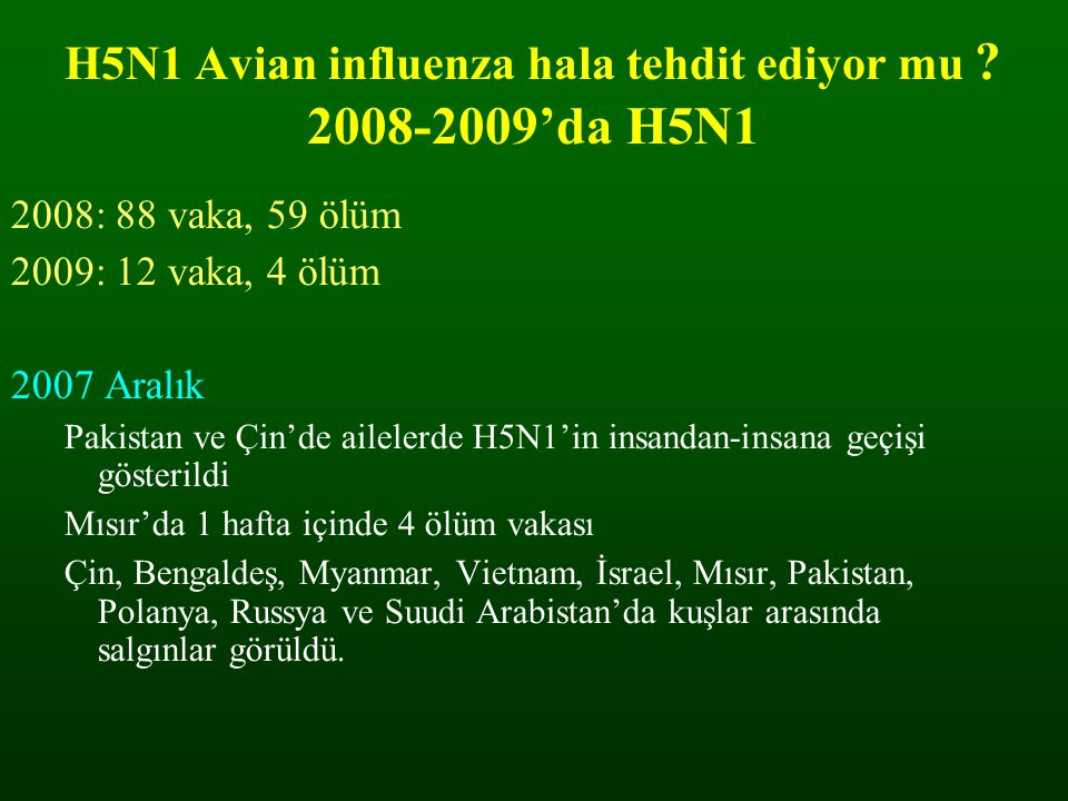 H5N1 Avian influenza hala tehdit ediyor mu 2008-2009'da H5N1