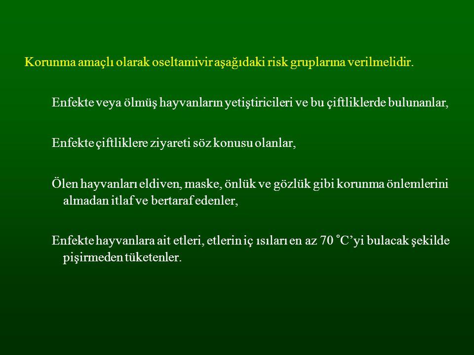 Korunma amaçlı olarak oseltamivir aşağıdaki risk gruplarına verilmelidir.