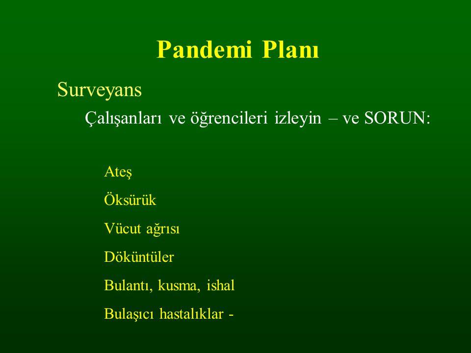 Pandemi Planı Surveyans Çalışanları ve öğrencileri izleyin – ve SORUN: