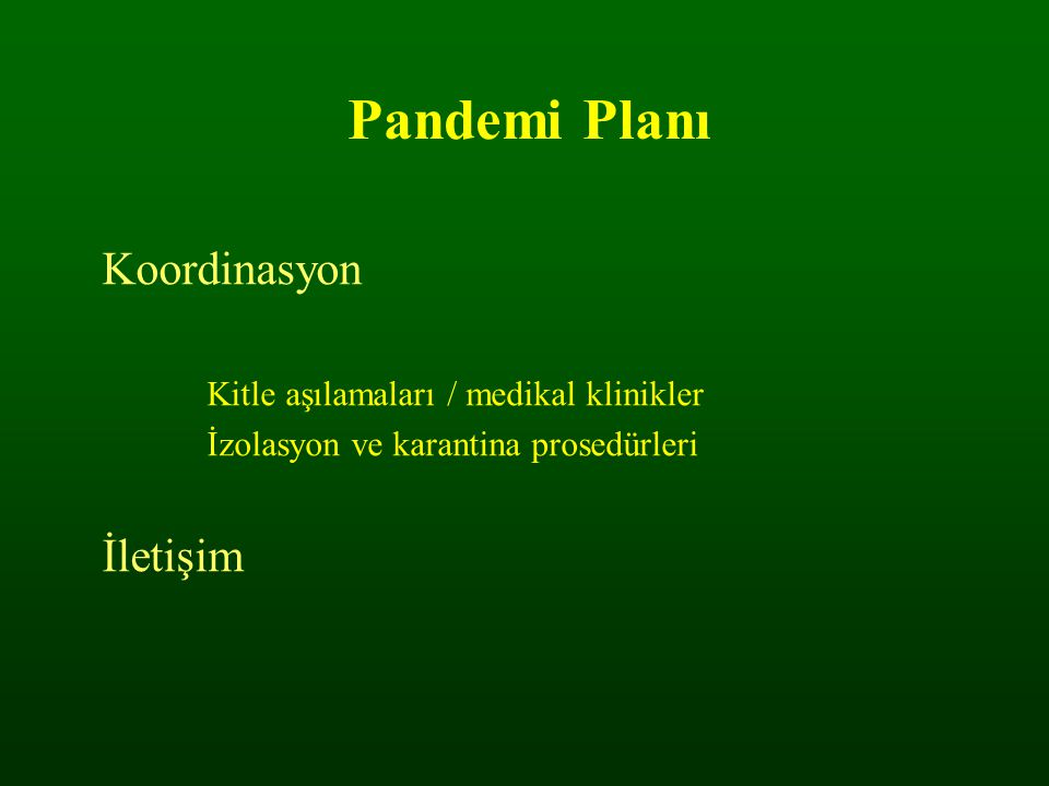 Pandemi Planı Koordinasyon İletişim