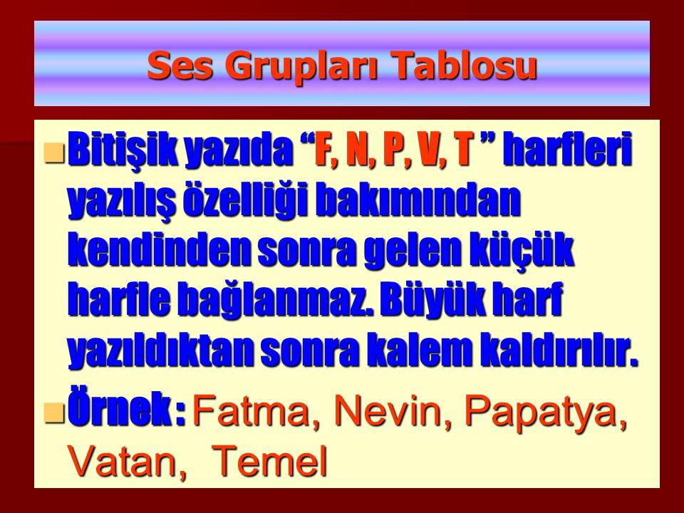 Örnek : Fatma, Nevin, Papatya, Vatan, Temel