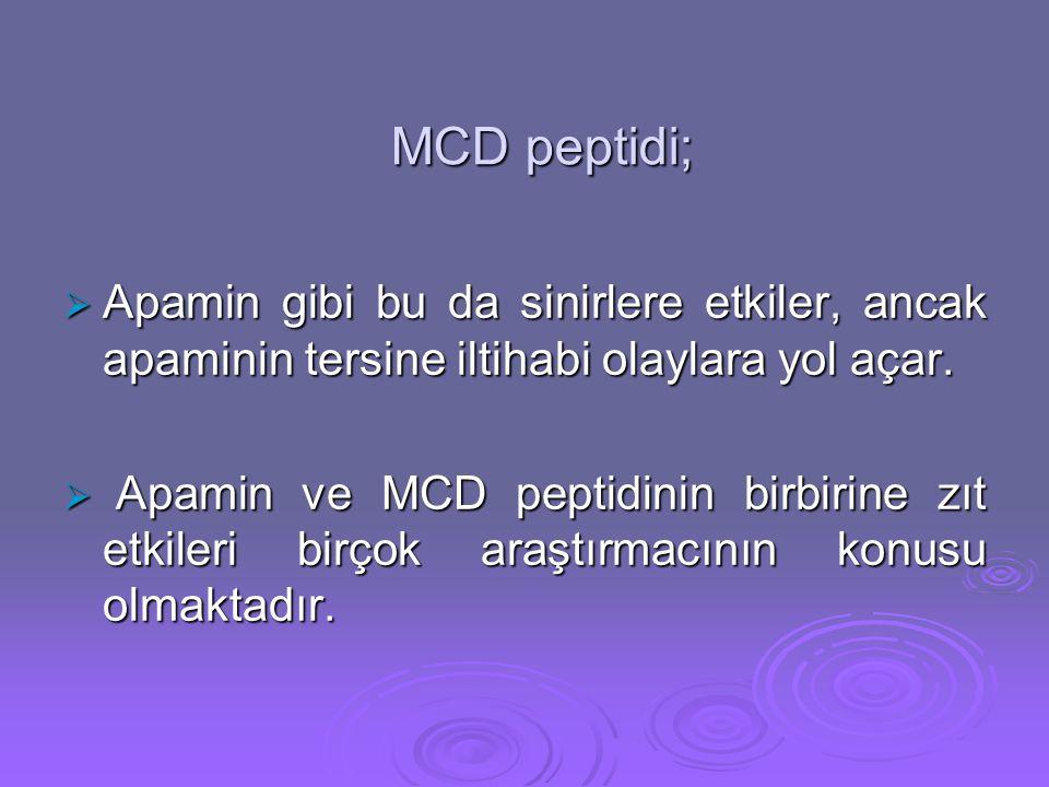 MCD peptidi; Apamin gibi bu da sinirlere etkiler, ancak apaminin tersine iltihabi olaylara yol açar.