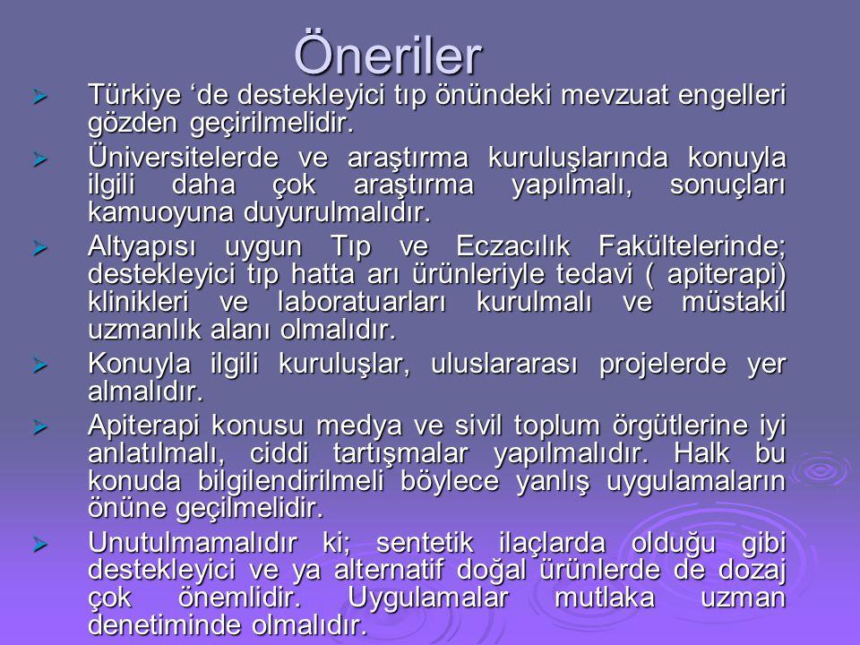 Öneriler Türkiye 'de destekleyici tıp önündeki mevzuat engelleri gözden geçirilmelidir.