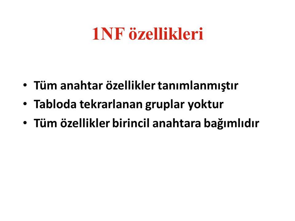 1NF özellikleri Tüm anahtar özellikler tanımlanmıştır