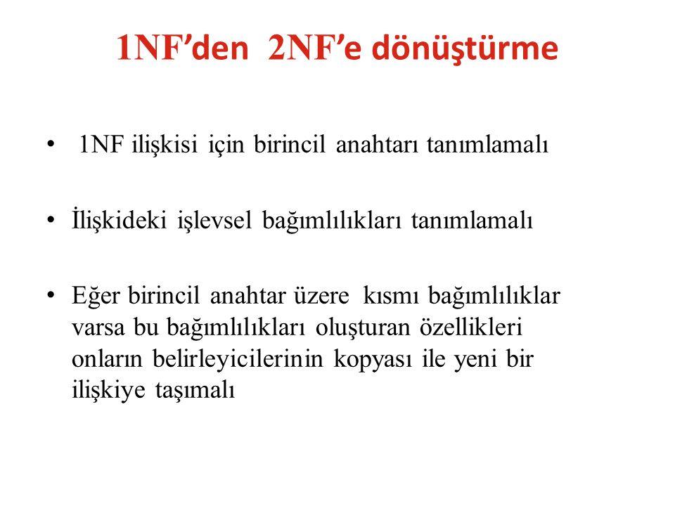 1NF'den 2NF'e dönüştürme