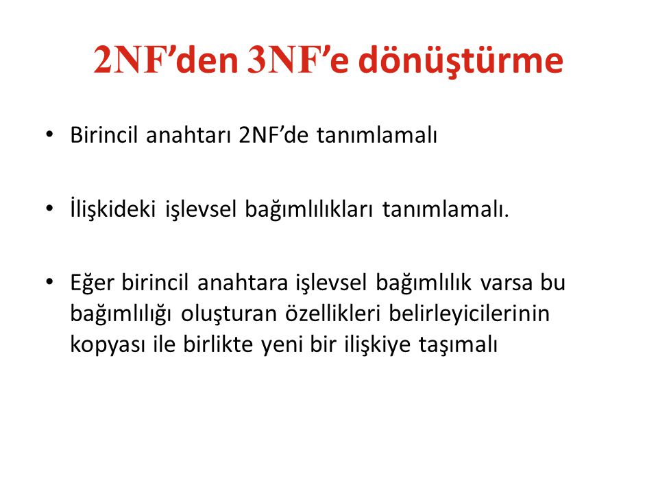 2NF'den 3NF'e dönüştürme
