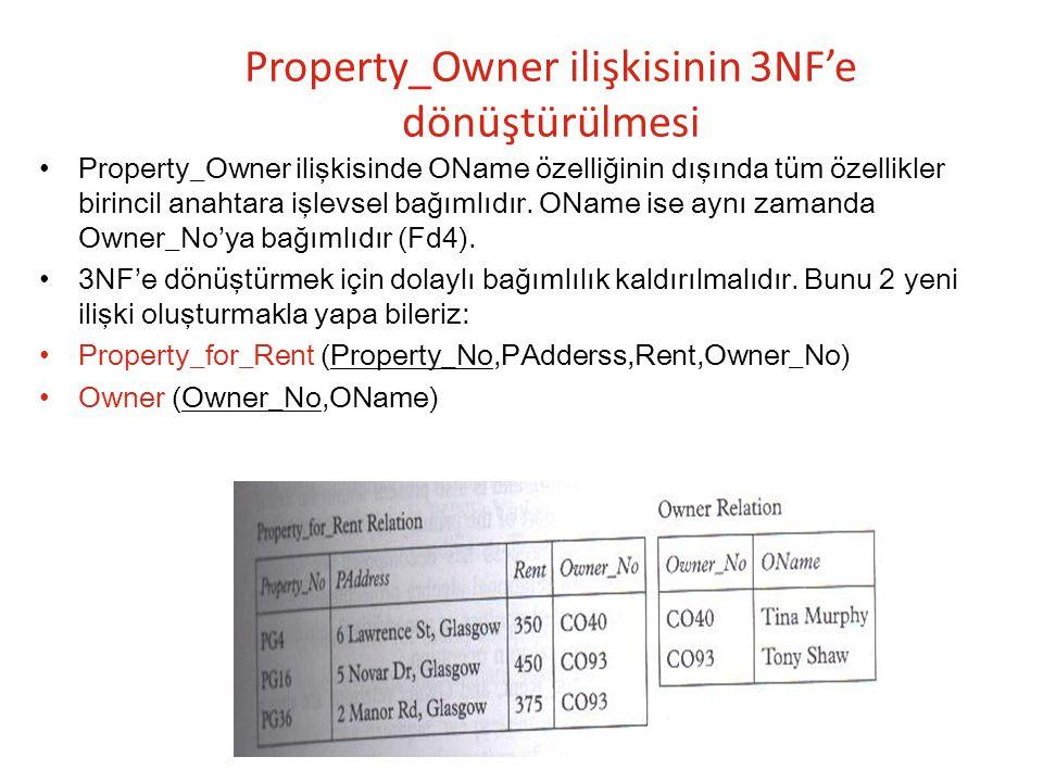 Property_Owner ilişkisinin 3NF'e dönüştürülmesi