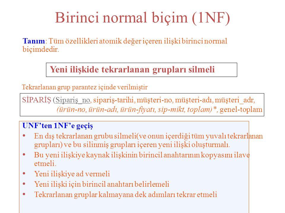 Birinci normal biçim (1NF)