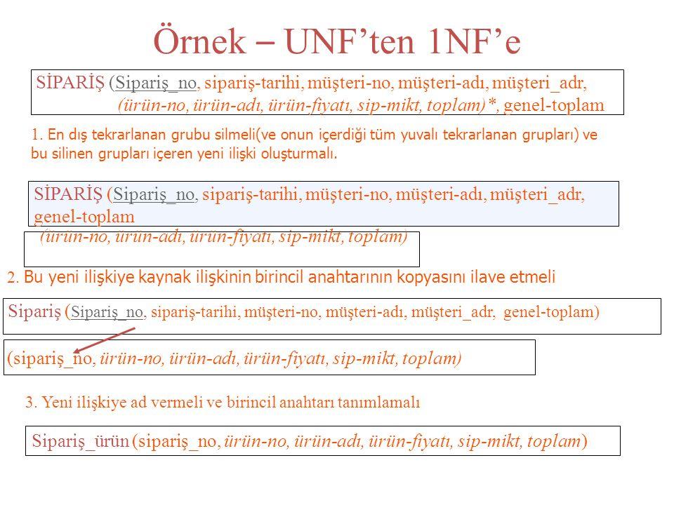 Örnek – UNF'ten 1NF'e SİPARİŞ (Sipariş_no, sipariş-tarihi, müşteri-no, müşteri-adı, müşteri_adr,