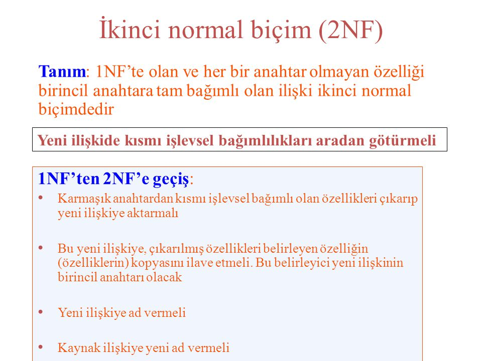 İkinci normal biçim (2NF)