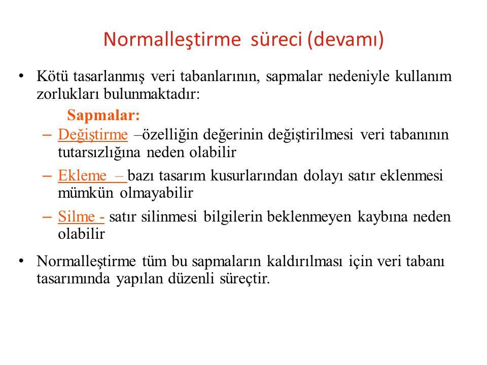 Normalleştirme süreci (devamı)