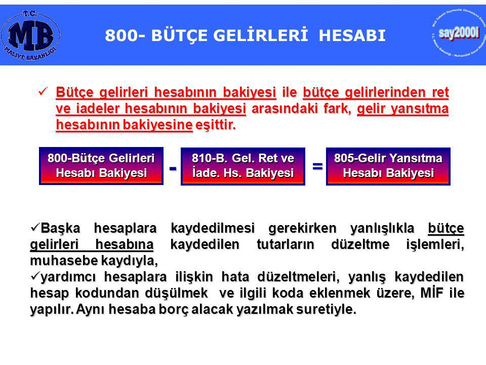 800- BÜTÇE GELİRLERİ HESABI