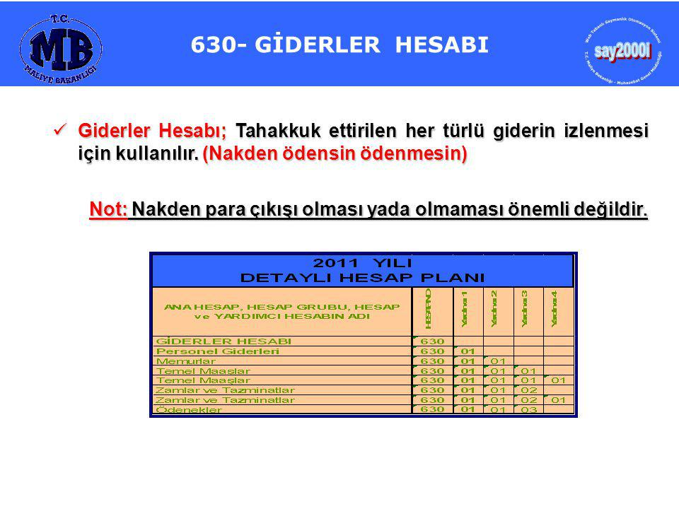 630- GİDERLER HESABI say2000i. Web Tabanlı Saymanlık Otomasyon Sistemi. T.C. Maliye Bakanlığı - Muhasebat Genel Müdürlüğü.