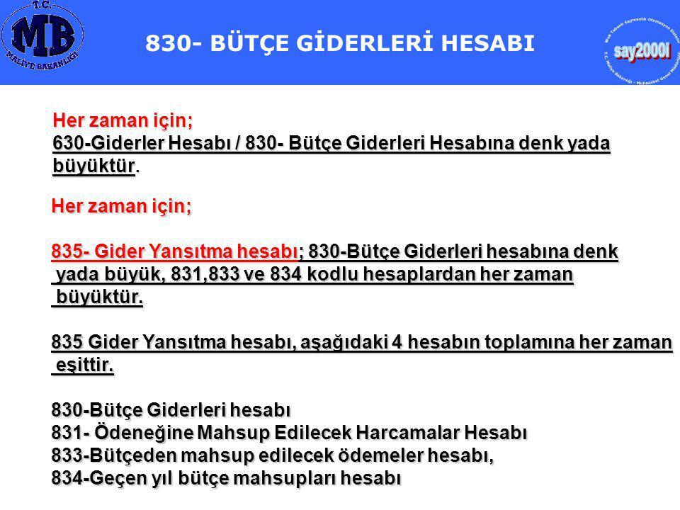 830- BÜTÇE GİDERLERİ HESABI
