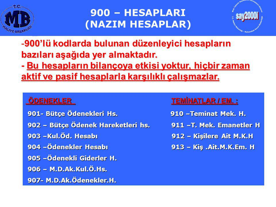 900 – HESAPLARI (NAZIM HESAPLAR)