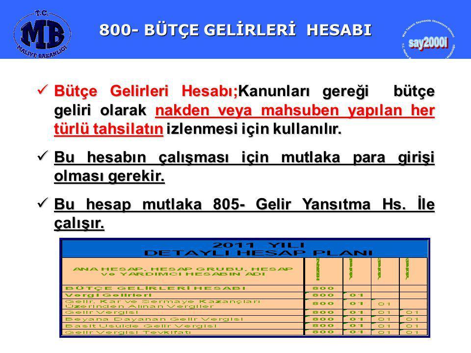 800- BÜTÇE GELİRLERİ HESABI 800- BÜTÇE GELİRLERİ HESABI