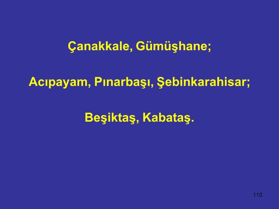 Acıpayam, Pınarbaşı, Şebinkarahisar;