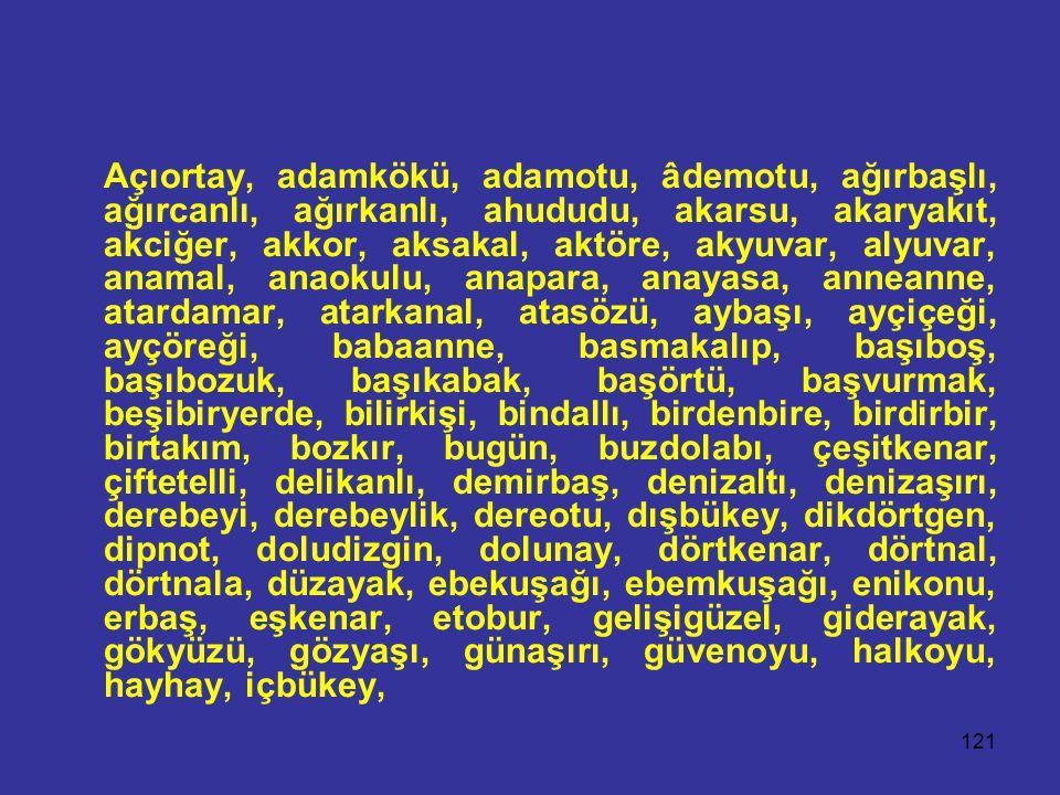 Açıortay, adamkökü, adamotu, âdemotu, ağırbaşlı, ağırcanlı, ağırkanlı, ahududu, akarsu, akaryakıt, akciğer, akkor, aksakal, aktöre, akyuvar, alyuvar, anamal, anaokulu, anapara, anayasa, anneanne, atardamar, atarkanal, atasözü, aybaşı, ayçiçeği, ayçöreği, babaanne, basmakalıp, başıboş, başıbozuk, başıkabak, başörtü, başvurmak, beşibiryerde, bilirkişi, bindallı, birdenbire, birdirbir, birtakım, bozkır, bugün, buzdolabı, çeşitkenar, çiftetelli, delikanlı, demirbaş, denizaltı, denizaşırı, derebeyi, derebeylik, dereotu, dışbükey, dikdörtgen, dipnot, doludizgin, dolunay, dörtkenar, dörtnal, dörtnala, düzayak, ebekuşağı, ebemkuşağı, enikonu, erbaş, eşkenar, etobur, gelişigüzel, giderayak, gökyüzü, gözyaşı, günaşırı, güvenoyu, halkoyu, hayhay, içbükey,