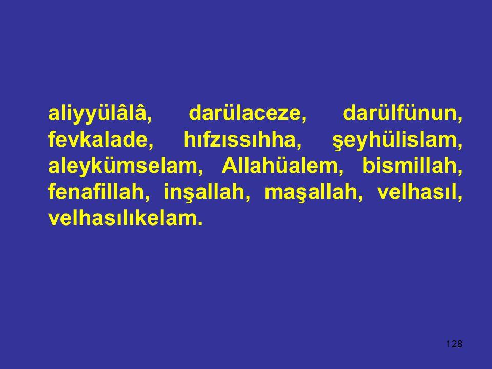 aliyyülâlâ, darülaceze, darülfünun, fevkalade, hıfzıssıhha, şeyhülislam, aleykümselam, Allahüalem, bismillah, fenafillah, inşallah, maşallah, velhasıl, velhasılıkelam.