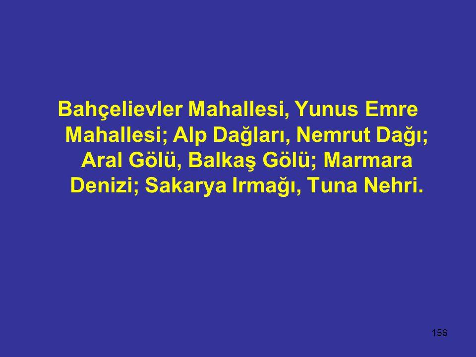Bahçelievler Mahallesi, Yunus Emre Mahallesi; Alp Dağları, Nemrut Dağı; Aral Gölü, Balkaş Gölü; Marmara Denizi; Sakarya Irmağı, Tuna Nehri.