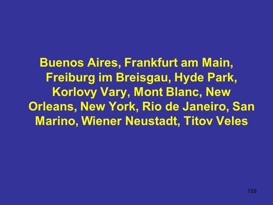 Buenos Aires, Frankfurt am Main, Freiburg im Breisgau, Hyde Park, Korlovy Vary, Mont Blanc, New Orleans, New York, Rio de Janeiro, San Marino, Wiener Neustadt, Titov Veles