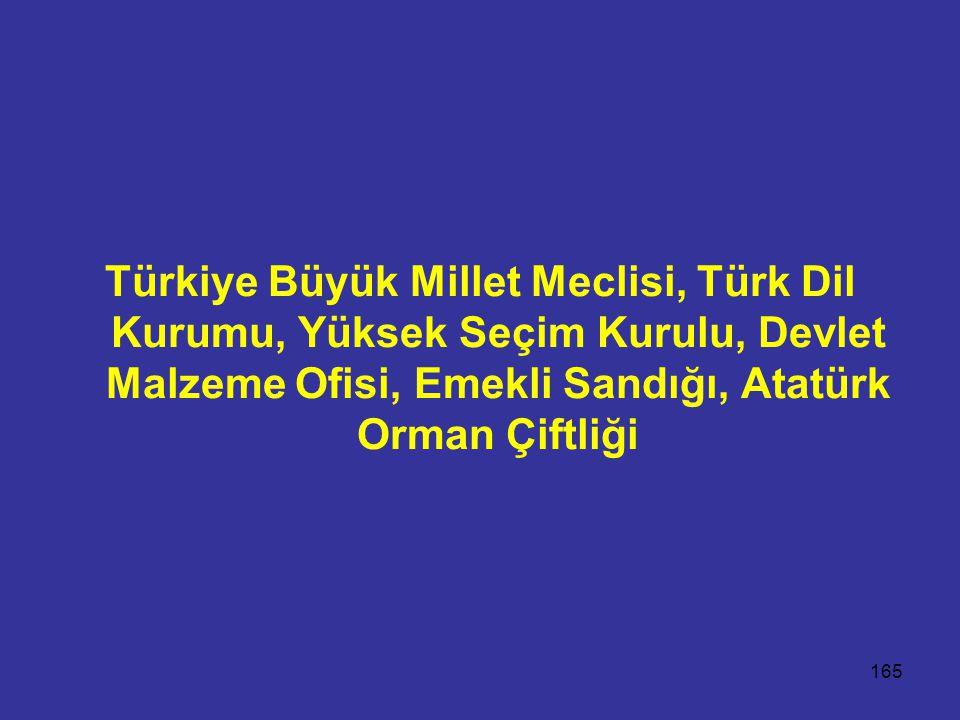 Türkiye Büyük Millet Meclisi, Türk Dil Kurumu, Yüksek Seçim Kurulu, Devlet Malzeme Ofisi, Emekli Sandığı, Atatürk Orman Çiftliği