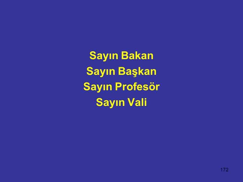 Sayın Bakan Sayın Başkan Sayın Profesör Sayın Vali