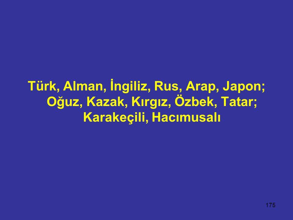 Türk, Alman, İngiliz, Rus, Arap, Japon; Oğuz, Kazak, Kırgız, Özbek, Tatar; Karakeçili, Hacımusalı