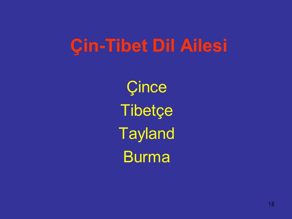 Çin-Tibet Dil Ailesi Çince Tibetçe Tayland Burma