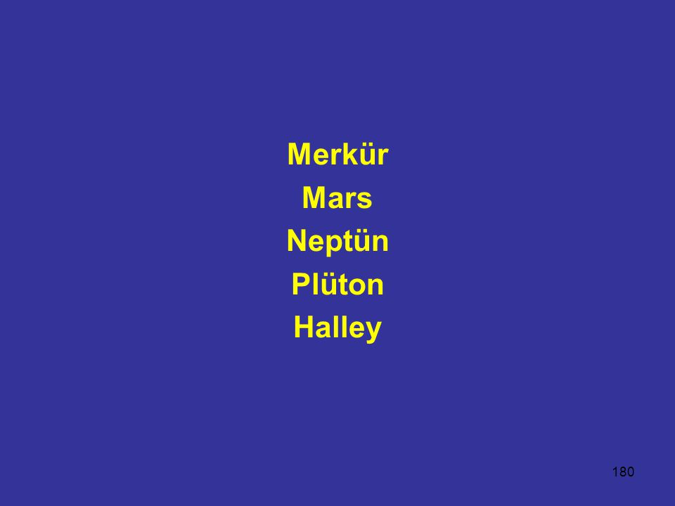 Merkür Mars Neptün Plüton Halley