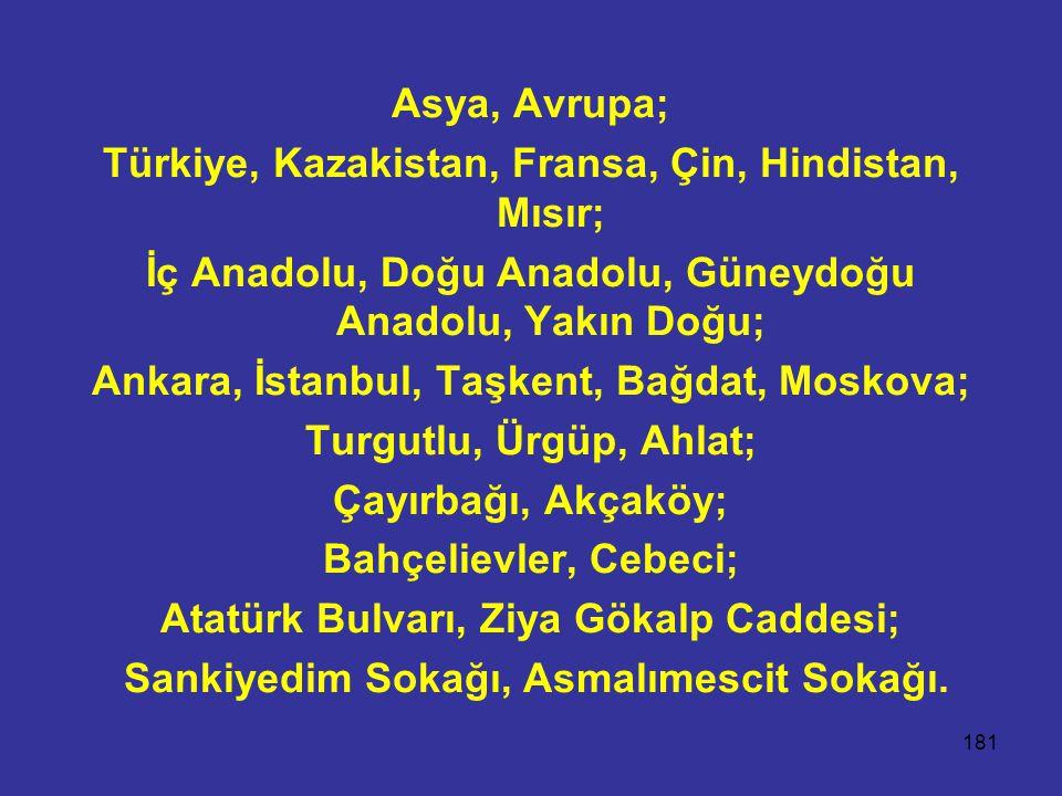 Türkiye, Kazakistan, Fransa, Çin, Hindistan, Mısır;