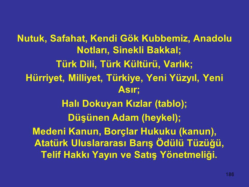 Nutuk, Safahat, Kendi Gök Kubbemiz, Anadolu Notları, Sinekli Bakkal;