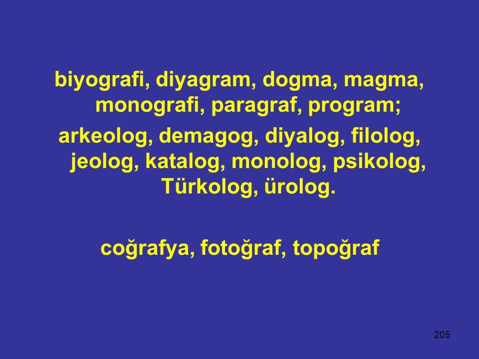 biyografi, diyagram, dogma, magma, monografi, paragraf, program;