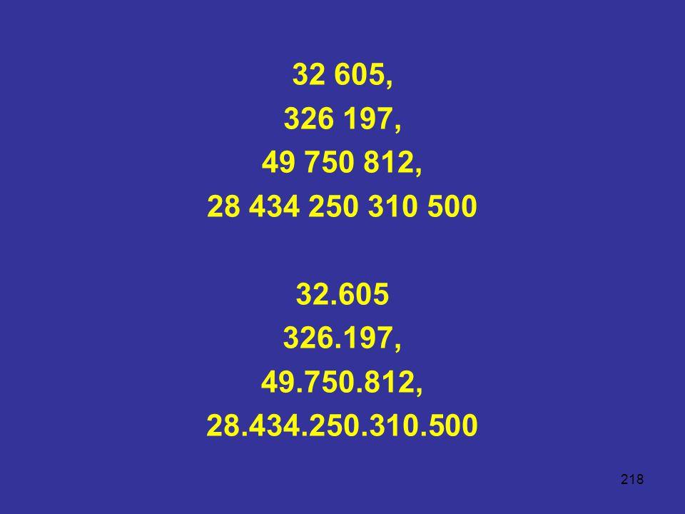 32 605, 326 197, 49 750 812, 28 434 250 310 500 32.605 326.197, 49.750.812, 28.434.250.310.500