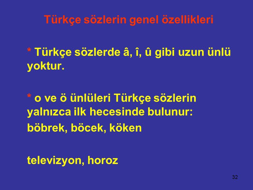 Türkçe sözlerin genel özellikleri
